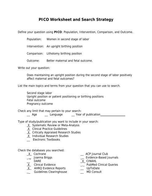 pico questions for geriatrics