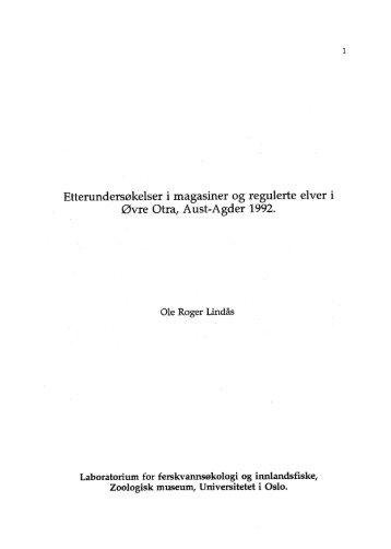 Etterundersøkelser i magasiner og regulerte elver - Universitetet i Oslo