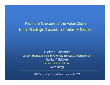 From the Structure of the Value Chain to the Strategic Dynamics of ...