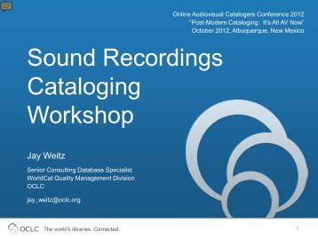 Sound Recordings Cataloging Workshop - OLAC
