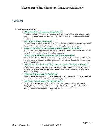 Q&A about Public Access into Eloquent Archives™ Contents