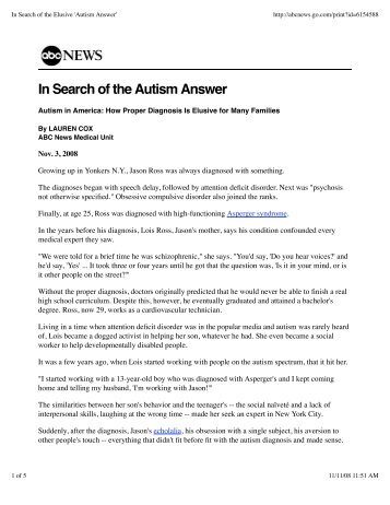 In Search of the Elusive 'Autism Answer' - NYU Child Study Center
