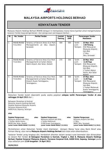MALAYSIA AIRPORTS HOLDINGS BERHAD KENYATAAN TENDER