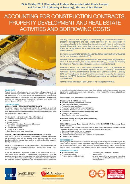ACCountIng For ConstruCtIon ContrACts, ProPErty dEvEloPMEnt