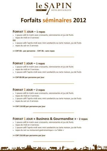Forfaits séminaires 2012 - hôtel le Sapin
