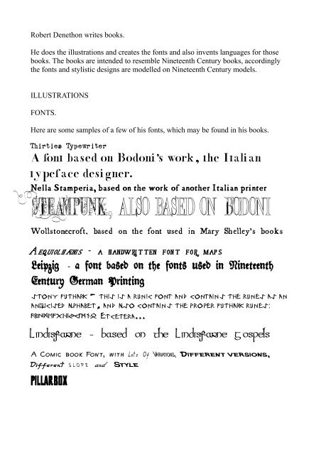 Regarding Robert Denethon Fonts and Created Languages