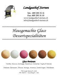 Hausgemachte Glace Dessertspezialitäten - Landgasthof Sternen