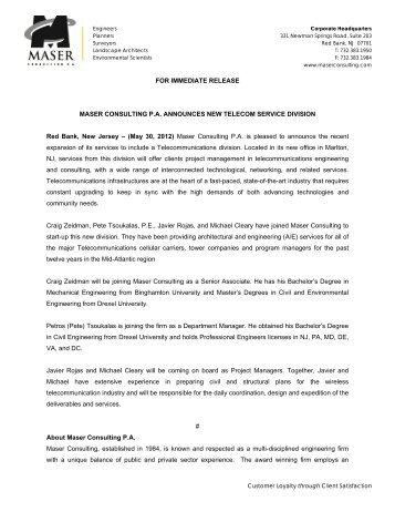 Maser Consulting P.A. Announces New Telecom Service Division