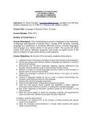 english 3017 - Facultad De Humanidades