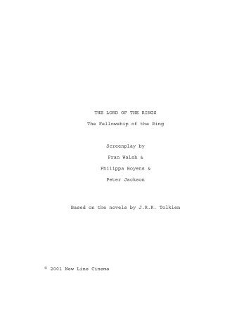 THE LORD OF THE RINGS The Fellowship of the Ring Screenplay ...