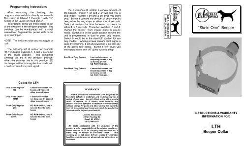 """Six-in-One"" Beeper Beeper Collar - Lovett's Electronics"
