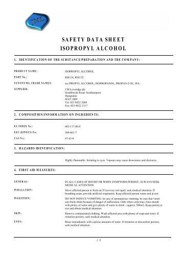 SAFETY DATA SHEET ISOPROPYL ALCOHOL