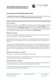 Ad hoc bulletin pursuant to article 15 of the German Securities ...