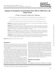 Analyses of teicoplanin concentrations from 1994 to 2006 from a UK ...