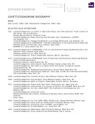 LOVETT/CODAGNONE BIOGRAPHY - Editions Fawbush
