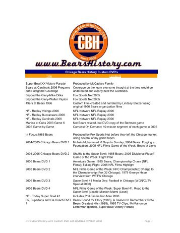 Chicago Bears History Custom DVD's Title Contents Super Bowl XX ...