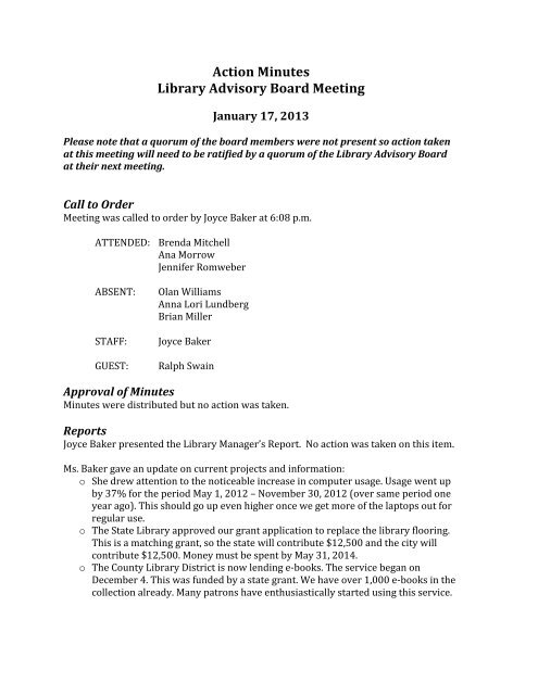 Action Minutes Library Advisory Board Meeting