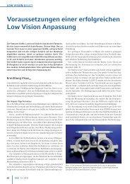 Voraussetzungen einer erfolgreichen Low Vision Anpassung - doz