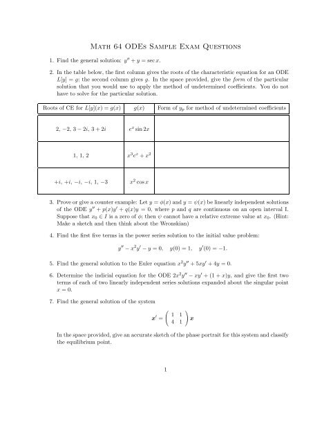 Math 64 ODEs Sample Exam Questions