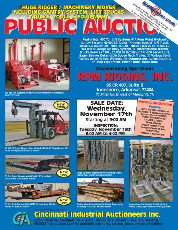 RPM RIGGING, INC. - Cincinnati Industrial Auctioneers, Inc.