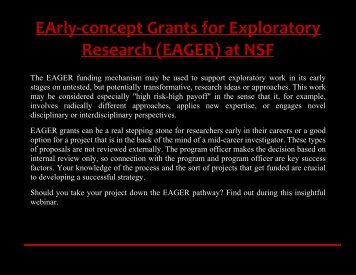 EArly-concept Grants for Exploratory Research (EAGER) at NSF