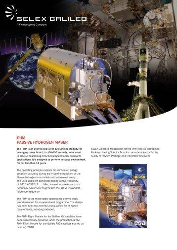 PHM PASSIVE HYDROGEN MASER - Selex Galileo