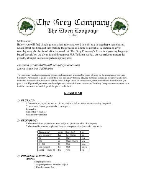 The Elven Language pdf - The Grey Company