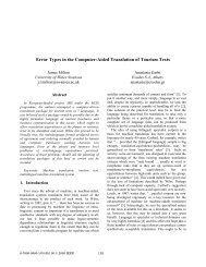 Error Types in the Computer-Aided Translation of Tourism Texts