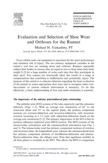 Evaluation and Selection of Shoe Wear and Orthoses for the Runner