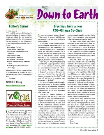 Winter 2012 · Down to Earth - Canadian Organic Growers