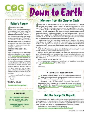 Winter 2013 · Down to Earth - Canadian Organic Growers
