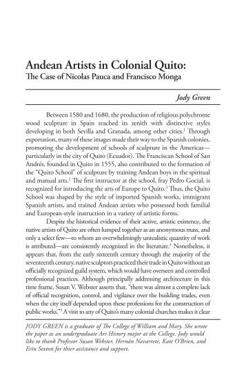 Andean Artists in Colonial Quito: - College of William and Mary