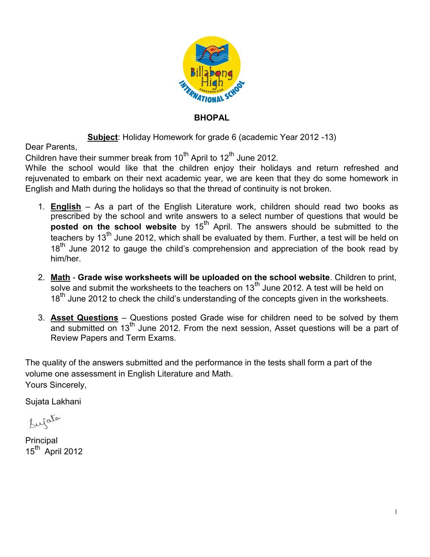 billabong school bhopal holiday homework for grade 2