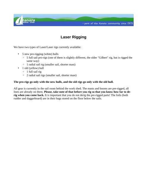 Laser Rigging Instructions - Kanata Sailing Club