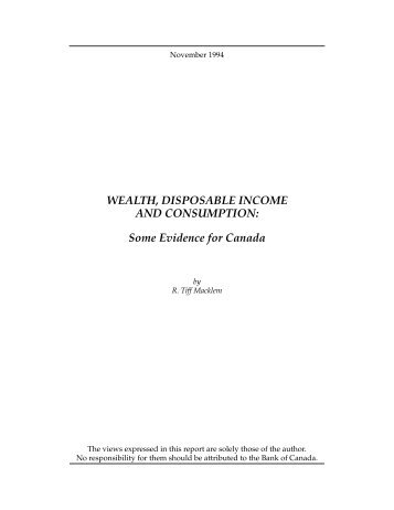 WEALTH, DISPOSABLE INCOME AND CONSUMPTION - Economics
