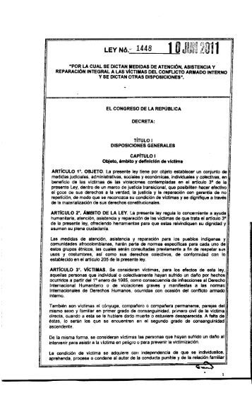 Ley 1448 - Presidencia de la República de Colombia