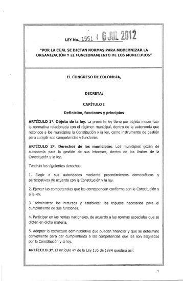 LEY..No.-- 1551 - Presidencia de la República de Colombia
