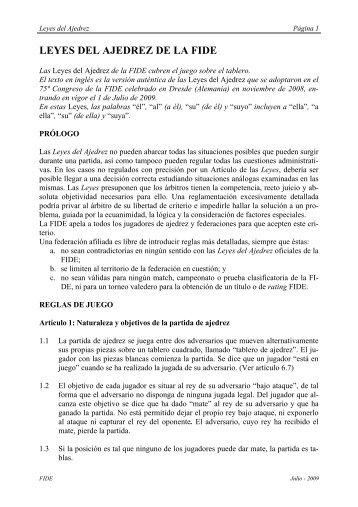 LEYES DEL AJEDREZ DE LA FIDE - Federación Venezolana de ...