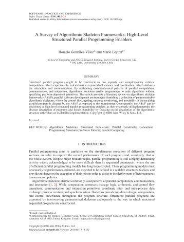 A Survey of Algorithmic Skeleton Frameworks - School of Computing ...