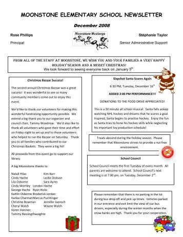 MOONSTONE ELEMENTARY SCHOOL NEWSLETTER