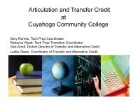 Articulation and Transfer Credit at Cuyahoga Community ... - CORD