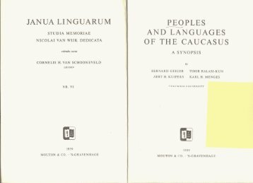 Peoples and Languages of the Caucasus