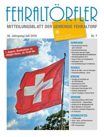 mitteilungsblatt der gemeinde fehraltorf