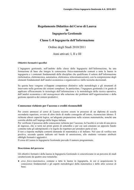 Calendario Didattico Sapienza Ingegneria.Regolamento 2010 2011 Iunior Pdf Ingegneria Gestionale