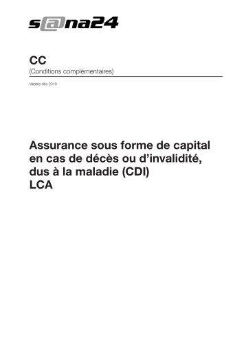 Assurance sous forme de capital en cas de décès ou d'invalidité ...