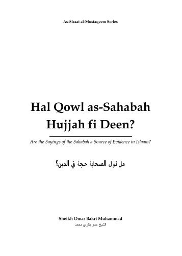 Sayings of the Sahabah - IZHAR UD-DEEN-IL-HAQ