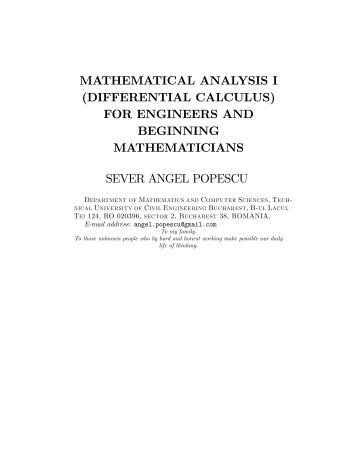 MATHEMATICAL ANALYSIS I (DIFFERENTIAL CALCULUS) FOR ...
