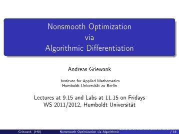 Nonsmooth Optimization via Algorithmic Differentiation - Institut fuer ...