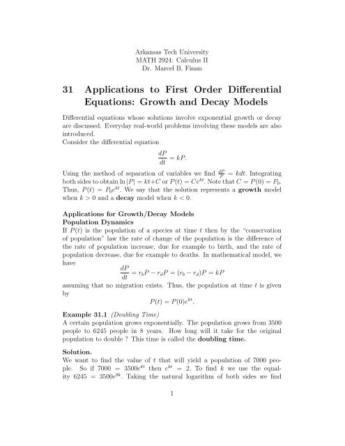 31 Applications to First Order Differential Equations