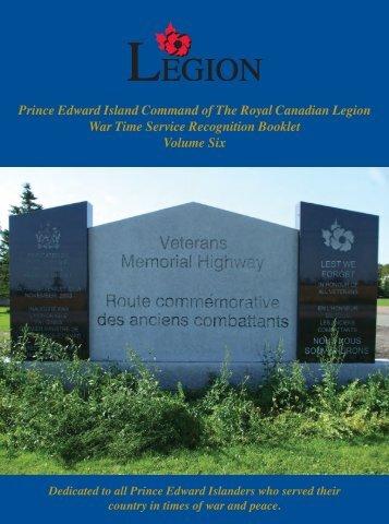 Prince Edward Island Command of The Royal Canadian Legion War ...